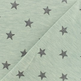 Poppy jersey fabric Magic glitter - green grey x 10cm
