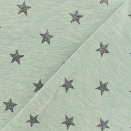 Tissu Oeko-Tex sweat léger Poppy Magic glitter- gris vert x 10cm