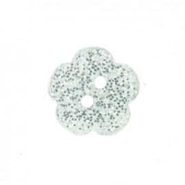 Bouton polyester Fleur pailleté blanc