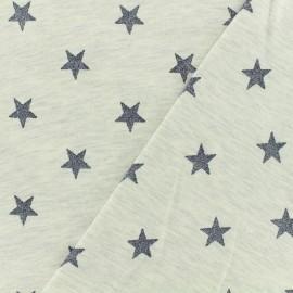 Poppy jersey fabric Magic glitter - light grey x 10cm