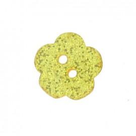 Bouton polyester Fleur pailleté jaune