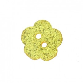 Polyester button, Spangled Flower - yellow