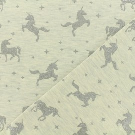 Tissu sweat léger Unicorns glitter - écru x 10cm