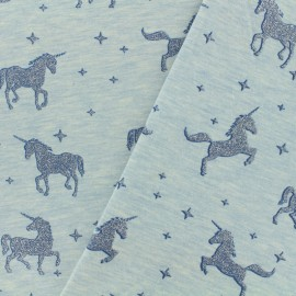 Jersey fabric Unicorns glitter - sky blue x 10cm