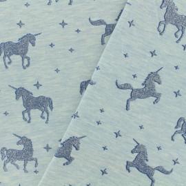 Tissu jersey Unicorns glitter - ciel x 10cm