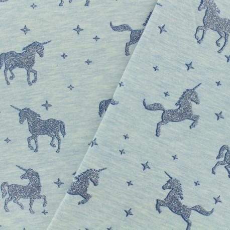 Tissu sweat léger Unicorns glitter - ciel x 10cm