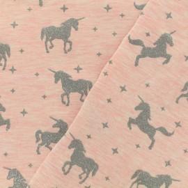 Jersey fabric Unicorns glitter - pink x 10cm