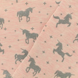 Tissu jersey Unicorns glitter - rose x 10cm