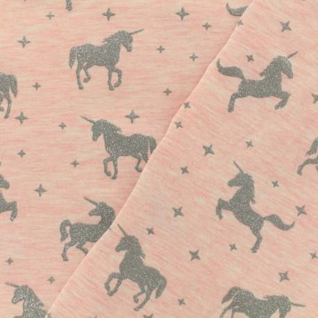 Tissu sweat léger Unicorns glitter - rose x 10cm