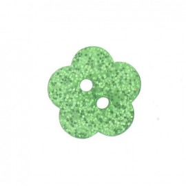 Bouton polyester Fleur pailleté vert
