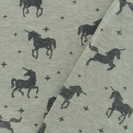 Jersey fabric Unicorns glitter - grey x 10cm