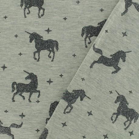 Jersey fabric Unicorns glitter - grey x 10cm