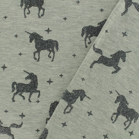 Tissu sweat léger Unicorns glitter - gris x 10cm