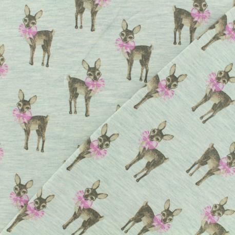 Tissu Oeko-Tex jersey Poppy Bambi noeud - vert d'eau x 10cm