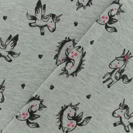 Tissu Oeko-Tex jersey Poppy  Licorne - gris x 10cm