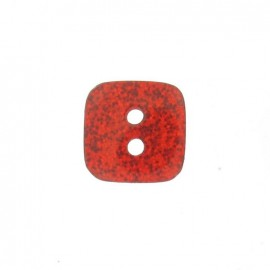 Polyester button, spangled square - red