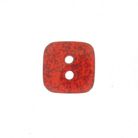 Bouton polyester Carré pailleté rouge