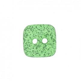 Bouton polyester Carré pailleté vert