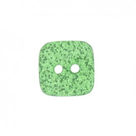 Polyester button, spangled square - green