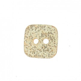 Polyester button, spangled square - flesh-colored
