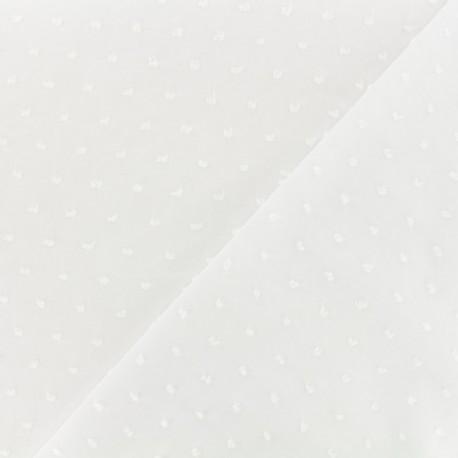 Tissu Plumetis voile de coton - blanc x 10cm