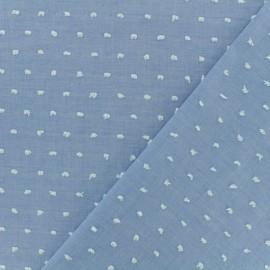 Tissu Plumetis voile de coton - denim x 10cm