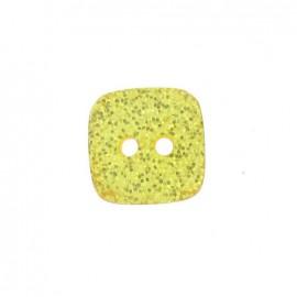 Bouton polyester Carré pailleté jaune