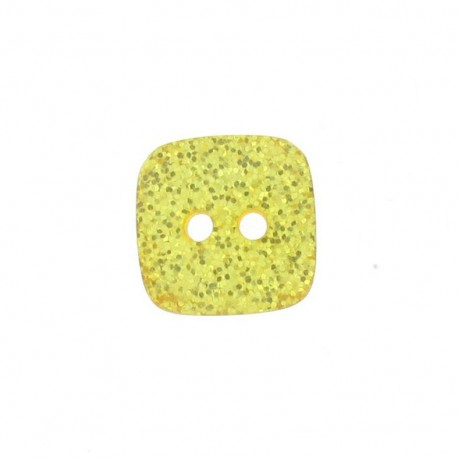 Polyester button, spangled square - yellow