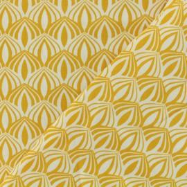 Tissu Oeko-Tex coton popeline Kali - moutarde  x 10cm
