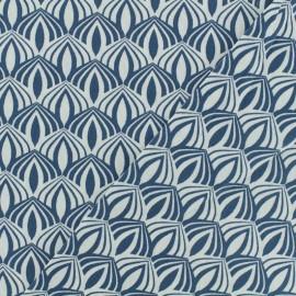 Tissu Oeko-Tex coton popeline Poppy - Kali - bleu x 10cm