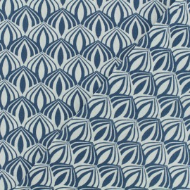 Cotton poplin fabric Poppy - Kali blue x 10cm