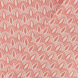 Tissu coton popeline Poppy - Kali - corail x 10cm