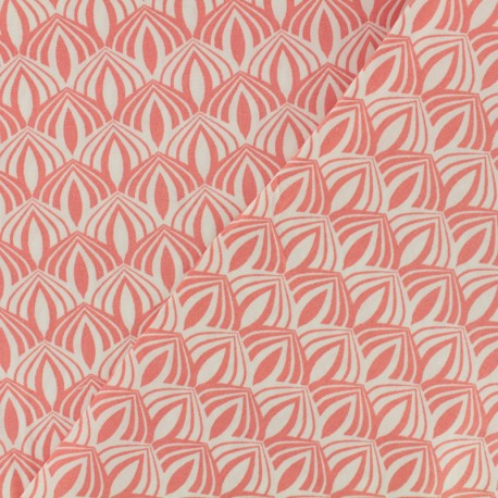 Cotton poplin fabric Poppy - Kali coral x 10cm