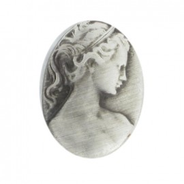 Metal oval-shaped button, Camay - grey