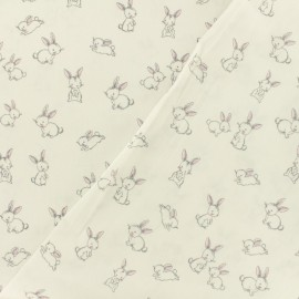 Tissu Oeko-Tex coton popeline Poppy - Petits lapins - blanc x 10cm