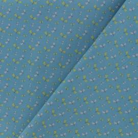Tissu Oeko-Tex coton popeline Poppy - Ambiance estivale - bleu orage x 10cm