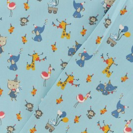 Cotton poplin fabric Poppy - Toys' party time - blue x 10cm