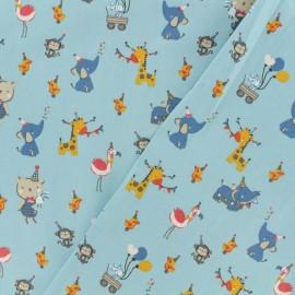 Tissu Oeko-Tex coton popeline Poppy - Doudou festif - bleu x 10cm