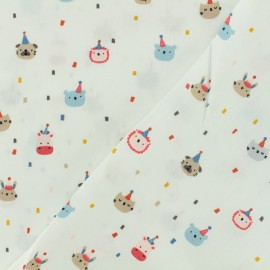 Cotton poplin fabric Poppy - Animals' party time - white x 10cm