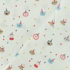 Tissu Oeko-Tex coton popeline Poppy - Animaux festifs - blanc x 10cm
