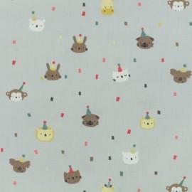 Tissu Oeko-Tex coton popeline Poppy - Animaux festifs - gris x 10cm