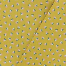 Tissu Oeko-Tex coton popeline Poppy - Graphique chic - moutarde x 10cm