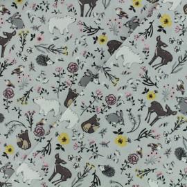 Tissu Oeko-Tex coton popeline Poppy - Dans les bois - gris perle x 10cm