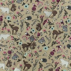 Tissu Oeko-Tex coton popeline Poppy - Dans les bois - beige x 10cm