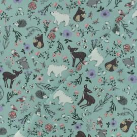 Tissu Oeko-Tex coton popeline Poppy - Dans les bois - bleu x 10cm