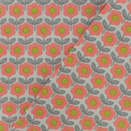 Tissu Oeko-Tex coton popeline Poppy - Vintage flower - gris perle x 10cm