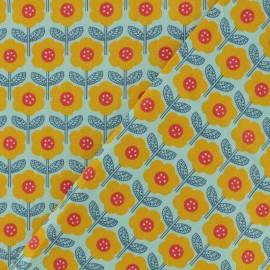 Tissu Oeko-Tex coton popeline Poppy - Vintage flower - bleu x 10cm