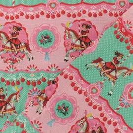 Tissu Oeko-Tex coton popeline Fiona Hewitt - Fairground girl - rose et vert x 10cm
