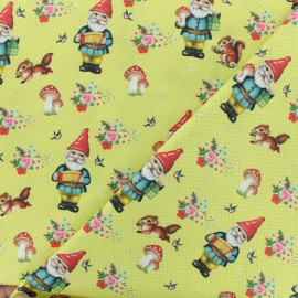 Tissu coton popeline Fiona Hewitt - Happy gnome - moutarde anglaise x 10cm