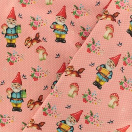 Cotton poplin fabric Fiona Hewitt - Happy gnome - pink x 10cm